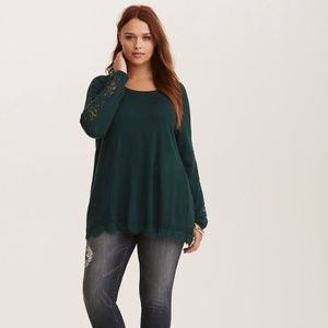 Torrid NWT Emerald Green Lace Trim Sweater Size 3
